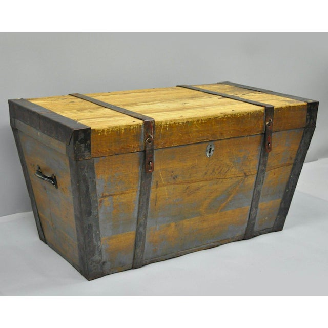 Late 19th Century Antique Primitive Wooden Trunk/Blanket Chest For Sale - Image 13 of 13