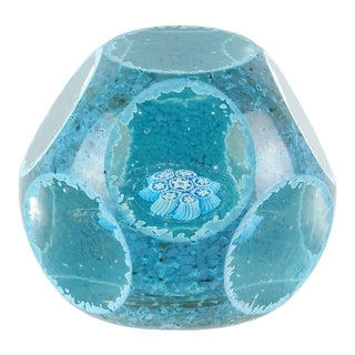 Fratelli Toso Murano Blue Snowflake Mosaic Murrine Italian Art Glass Paperweight For Sale