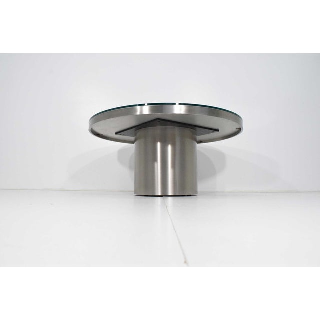 Silver Modern Brueton Brushed Stainless Steel Coffee Table For Sale - Image 8 of 9
