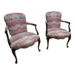 Antique Flame Stitch Cherry Shell Carved Fire Side Hickory Lounge Chairs - A Pair For Sale