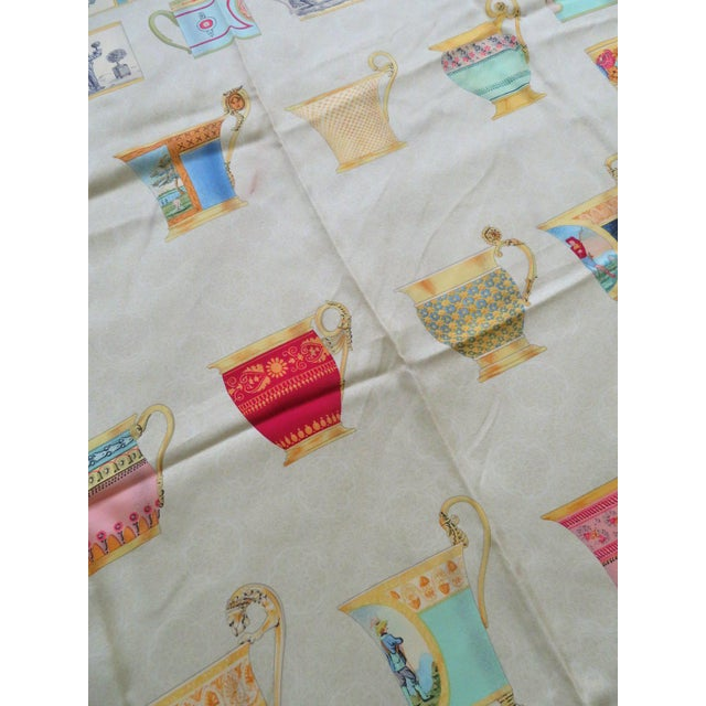 """Gucci Vintage Gucci """"High Tea"""" Silk Scarf For Sale - Image 4 of 9"""