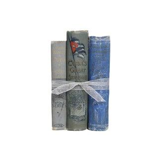 Rare Antique Blue Cuban History Trio Gift Set, S/3 For Sale