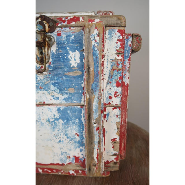 White Painted Wood Work Box W/ Metal Clasp and Handles For Sale - Image 8 of 13