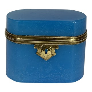 Early 20th Century French Opaline Blue Dresser Box For Sale