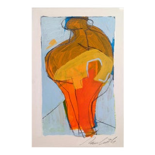 Orange Vase Abstract Painting For Sale