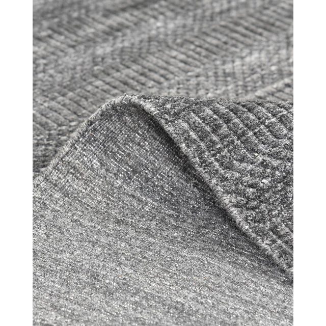 2020s Sanam, Contemporary Solid Hand Loomed Area Rug, Dark Gray, 5 X 8 For Sale - Image 5 of 9