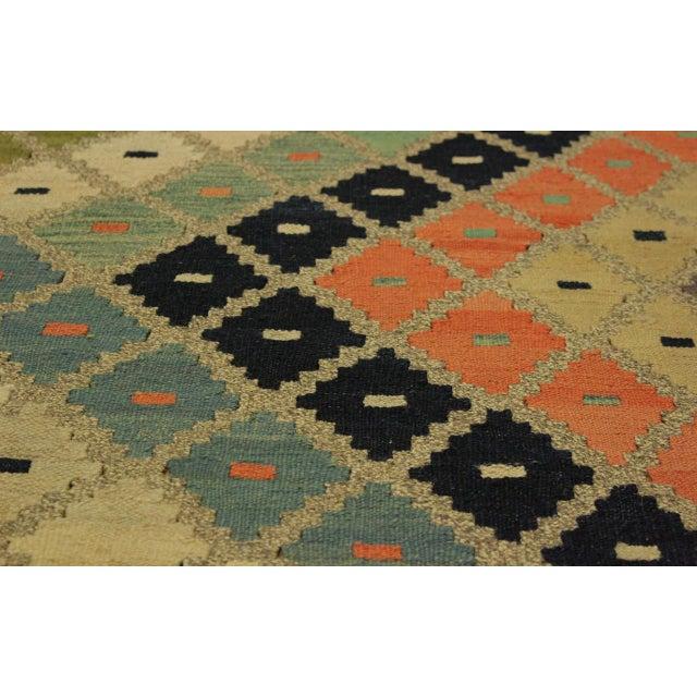 Shabby Chic Tribal Ezra Gray/Blue Hand-Woven Kilim Wool Rug -9'4 X 12'1 For Sale - Image 4 of 8