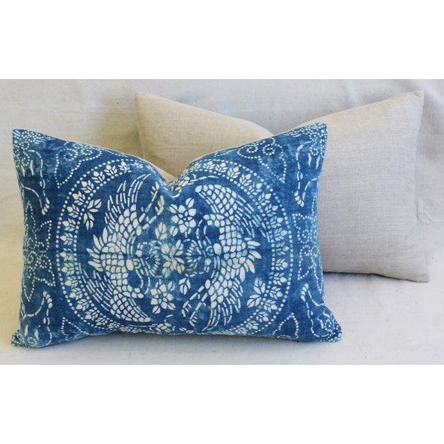 "Blue & White Shanghai Batik Chinoiserie Feather/Down Pillows 23"" X 16"" - Pair For Sale - Image 9 of 11"