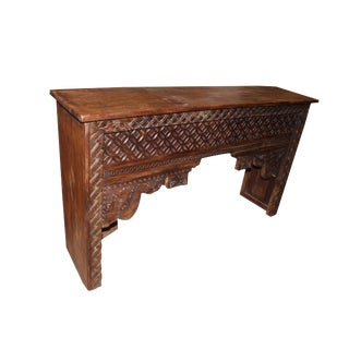 Antique Indian Hand Carved Teak Wood Mantel / Hall Table / Media Console For Sale