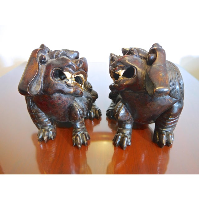 Early 20th Century Hand Carved Wooden Foo Dogs- a Pair For Sale - Image 5 of 6