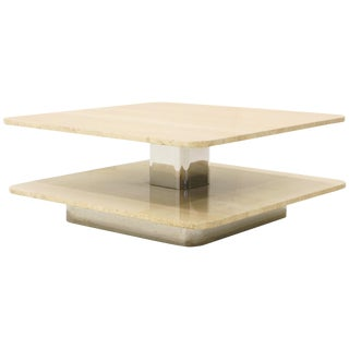 Coffee Table by Harvey Probber, Two-Tier Square Travertine Tops For Sale