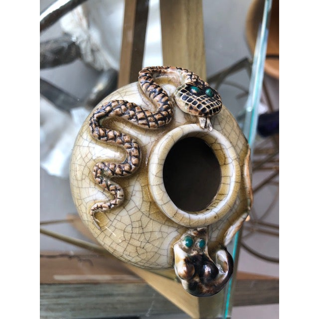 Crackle-Glazed Water-Pot With Applied Snake and Rat For Sale - Image 10 of 11