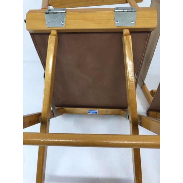 Tan Vintage Wood & Canvas Folding Director Chairs - a Pair For Sale - Image 8 of 12