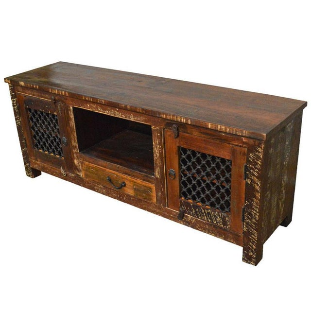 Reclaimed Wood Rustic Entertainment Center - Image 2 of 3