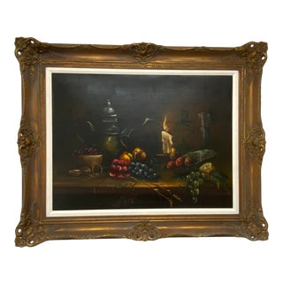 1960s Still Life Painting of Candle Lit Fruit For Sale
