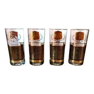Cocktail Glasses Sports Champions of the 50s Black & Gold - Set of 4 For Sale