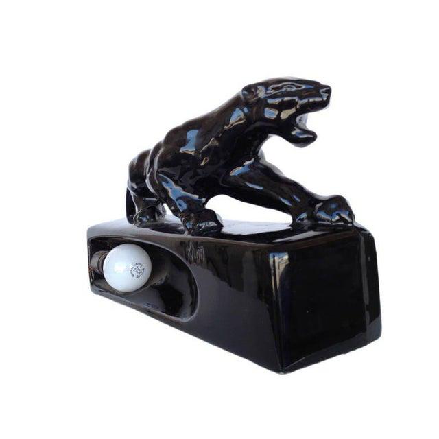 "Black Ceramic ""Sportsman Panther"" TV Lamp by Kron, 1955 - Image 4 of 8"
