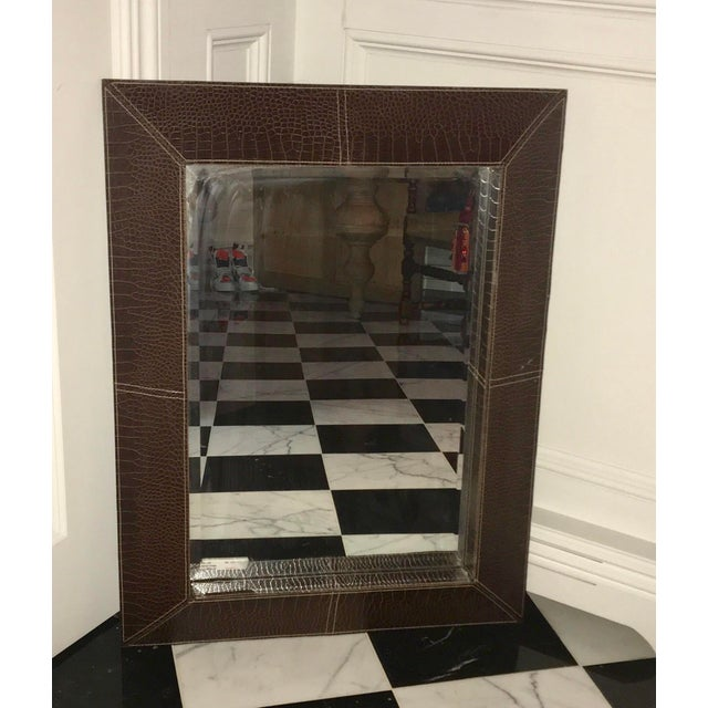 Italian Chocolate Leather Framed Beveled Mirror For Sale - Image 3 of 5