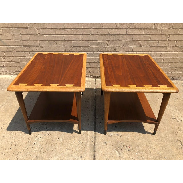 1950s Mid-Century Modern Lane Furniture Acclaim Dovetail End Tables - a Pair For Sale - Image 9 of 9
