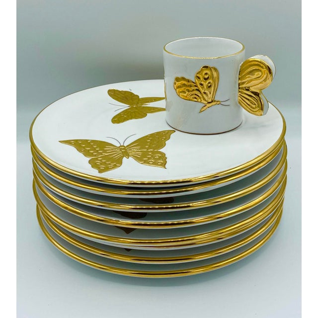 Vintage Hollywood Regency Carole Stupell Golden Butterfly Luncheon Plate and Cups - Set of 8 For Sale - Image 12 of 12