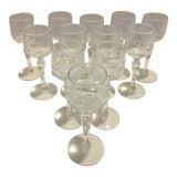 Image of Vintage Crystal Etched Cordial Glasses - Set of 12 For Sale