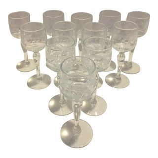 Vintage Crystal Etched Cordial Glasses - Set of 12 For Sale