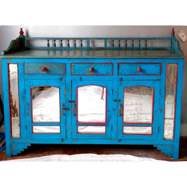 Reclaimed Wood & Antiqued Mirror Farm House Buffet - Image 2 of 11