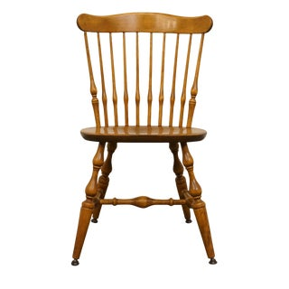 Late 20th Century Vintage Nichols & Stone Solid Maple Spindle Back Dining Side Chair For Sale