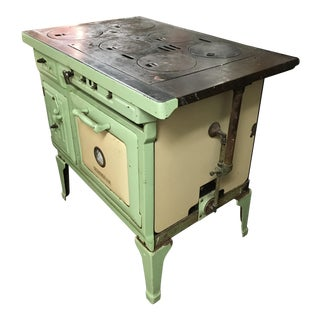 1930s Americana Sea Green Oven Porcelain Stove For Sale