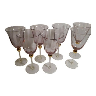 "1950s Wine Water Glass Goblets 8-7/8"" Royal Albert Old Country Roses Formal Pink - Set of 7 For Sale"