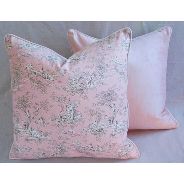 French Pink Toile & Velvet Pillows - A Pair - Image 6 of 11