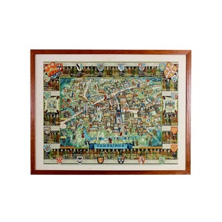 1960s Medieval Revival College Pictorial Map of Cambridge University For Sale