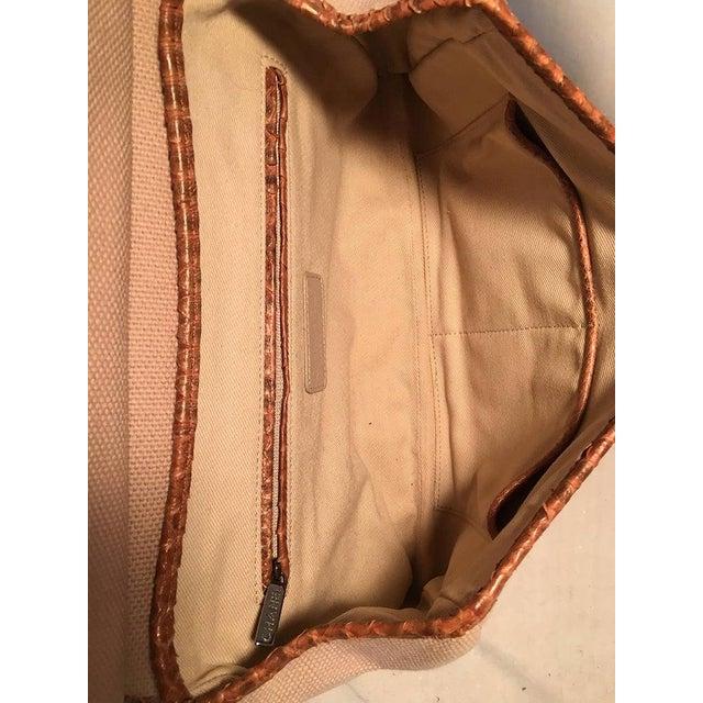 Boho Chic Chanel Beige Canvas and Tan Copper Snakeskin Flap Shoulder Bag For Sale - Image 3 of 8