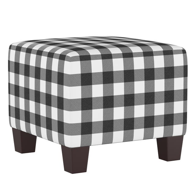 Spritely Home Square Ottoman in Classic Black Gingham For Sale - Image 4 of 5