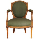 Image of French Louis XVI Walnut Upholstered Armchair Fauteuil, Late 18th Century For Sale