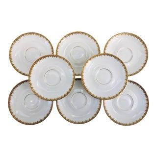 Vintage Porcelain French Limoges Gilt Saucers - Set of 8 For Sale