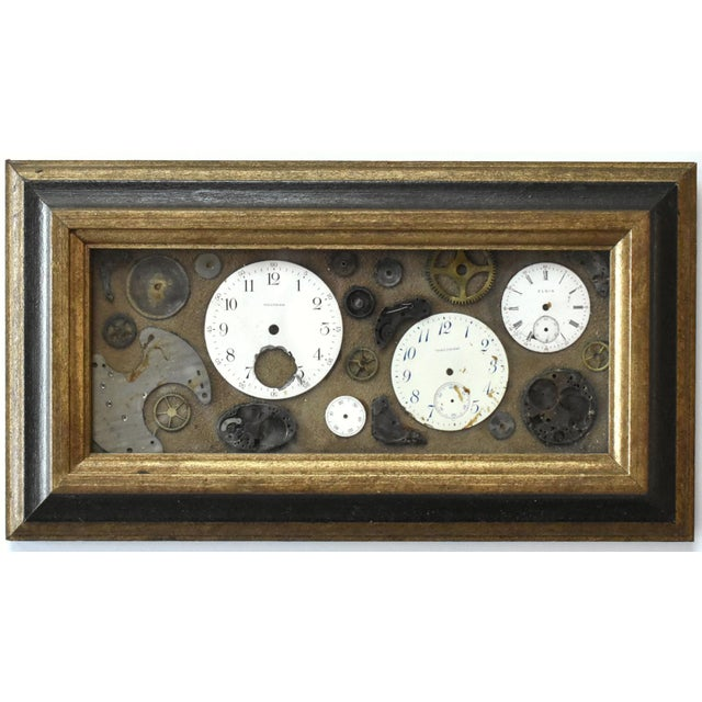 Metal Mid-Century Lee Waterman Pocket Watch Collage For Sale - Image 7 of 7