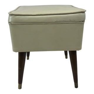 Vintage Mid Century Modern White Sewing Stool With Storage For Sale