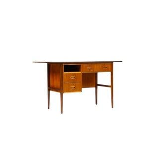 1960s Danish Modern Teak + Mahogany Drop Leaf Writing Desk For Sale
