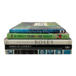 Gardening Books - Roses, Herbs, Shrubs, Vegetables, Fruit Trees - Set of 5 For Sale