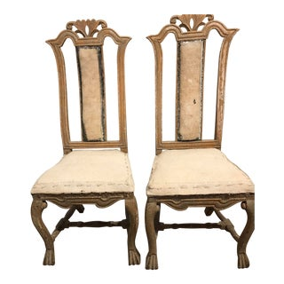 Mid 18th Century Antique Period Swedish Baroque Side Chairs- A Pair For Sale