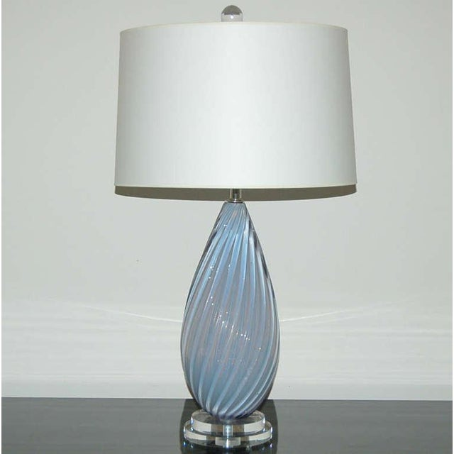 Murano Vintage Murano Opaline Glass Table Lamps Lavender- A Pair For Sale - Image 4 of 7