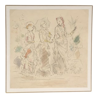 French 1950's Fashion Illustration For Sale