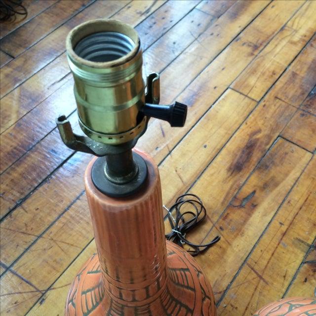 Mid Century Glazed Lamps - Pair - Image 3 of 6