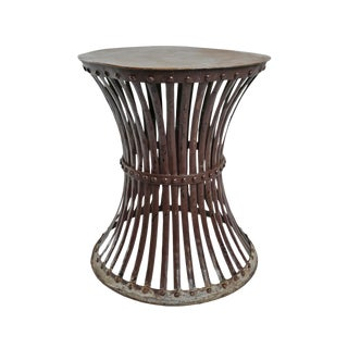 Vintage Iron Hourglass Rivet Stool For Sale