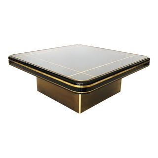 Mastercraft Black Lacquer and Brass Coffee Table For Sale