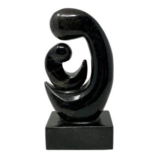 1960s Abstract Carved Black Onyx Mother & Child Sculpture For Sale