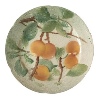 1900s Majolica Apricot Plate by Keller & Guerin Saint Clement For Sale