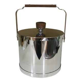 1950s Atapco Mid-Century Modern Stainless Steel & Teak Ice Bucket For Sale