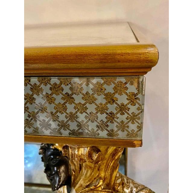 Hollywood Regency Jansen Figural & Eglomise Console Table. Serving / Sideboard For Sale - Image 12 of 12